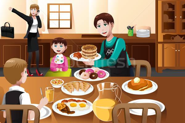 Ficar casa pai alimentação café da manhã crianças Foto stock © artisticco