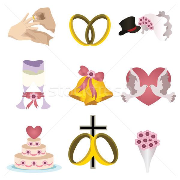 Casamento ícones ícone amor coração óculos Foto stock © artisticco