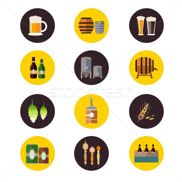 Cervecería iconos icono vidrio botella dibujo Foto stock © artisticco