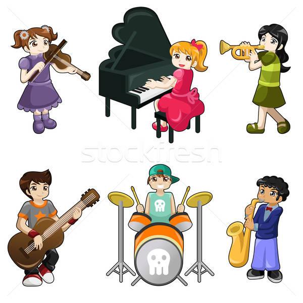различный детей, играющих музыкальный инструмент гитаре дети фортепиано Сток-фото © artisticco