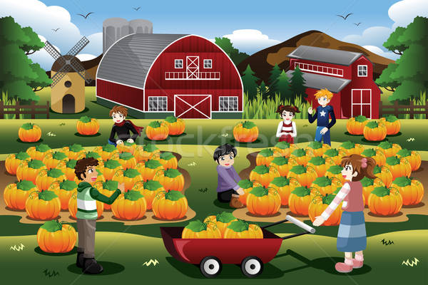 Kids on a Pumpkin Patch Trip in Autumn or Fall Season Stock photo © artisticco