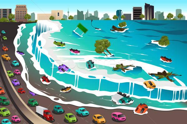 Sahne tsunami dev dalgalar araba Bina Stok fotoğraf © artisticco