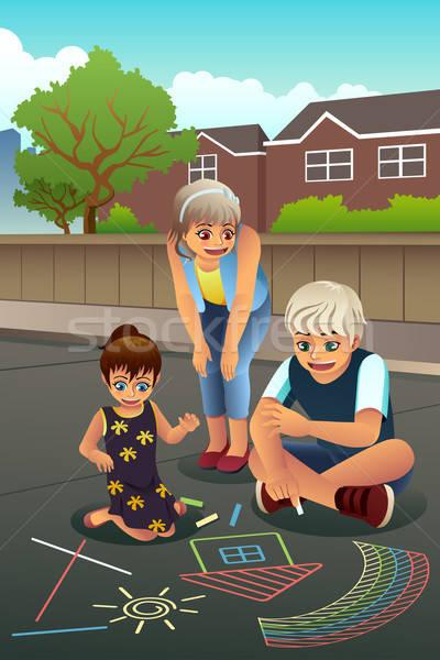 Ragazzi disegno marciapiede felice gesso amici Foto d'archivio © artisticco