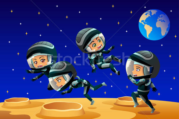 Kids Wearing Astronaut Outfit On The Moon Stock photo © artisticco