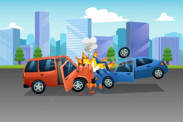 Dwa samochody wypadku ilustracja wektora kobieta Zdjęcia stock © artisticco