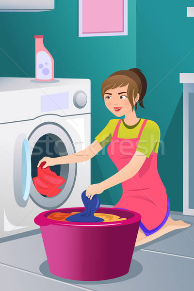 Рисунок стирающей женщины