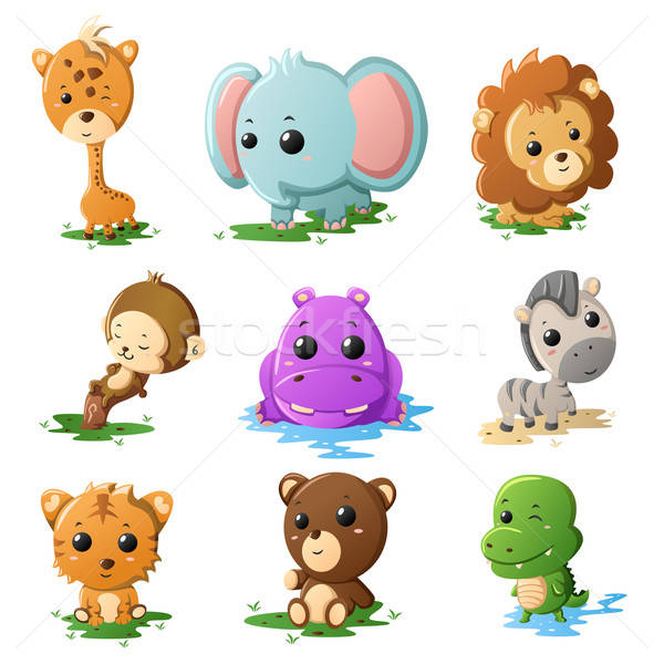 Cartoon wildlife animal icons Stock photo © artisticco