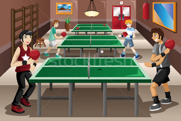 Teenagers playing ping pong Stock photo © artisticco