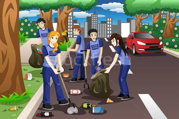 Kids volunteering by cleaning up the road Stock photo © artisticco
