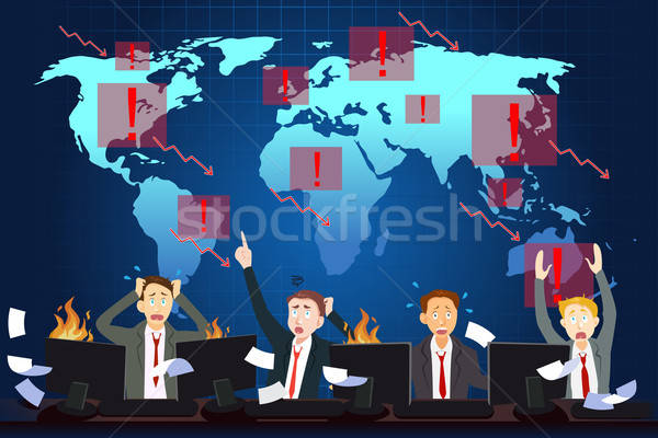 La nivel mondial economic criza birou om de afaceri finanţa Imagine de stoc © artisticco