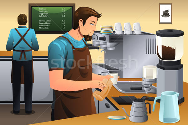 Barista café negócio trabalhador compras máquina Foto stock © artisticco