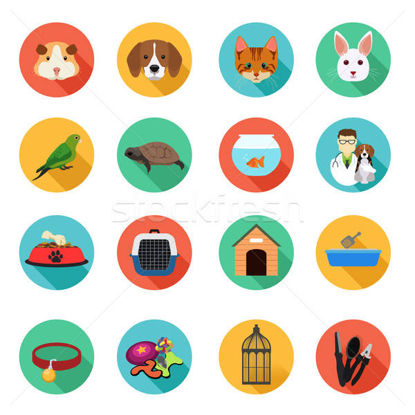 Animals and Veterinarian Flat Icons Stock photo © artisticco
