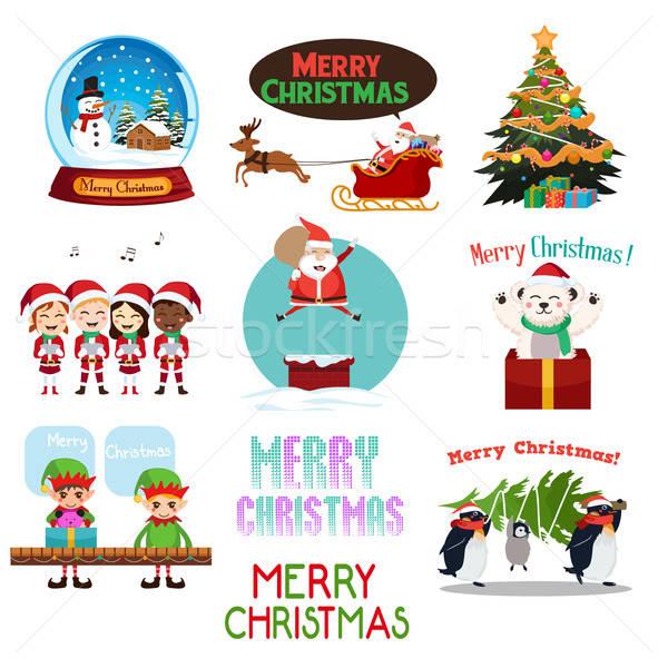 Karácsony ikonok clipartok gyerekek felirat fiatal Stock fotó © artisticco