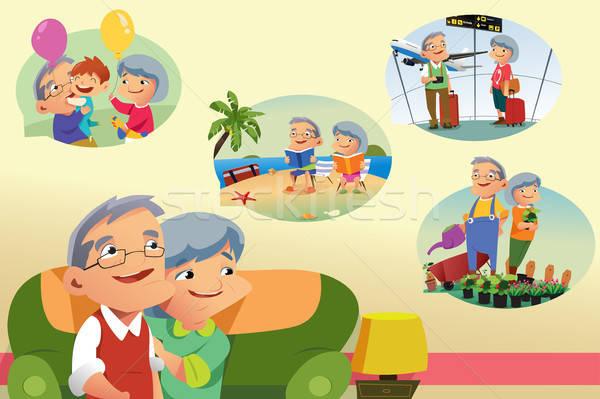 Denken pensioen activiteiten reizen vrouwelijke Stockfoto © artisticco