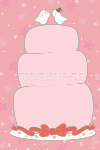 Esküvői torta terv keret házasság kártya rajz Stock fotó © artisticco