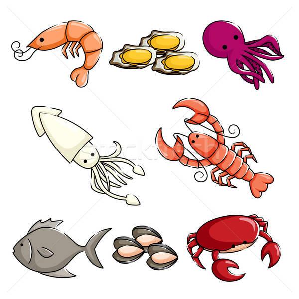 Stock photo: Sea animals icons