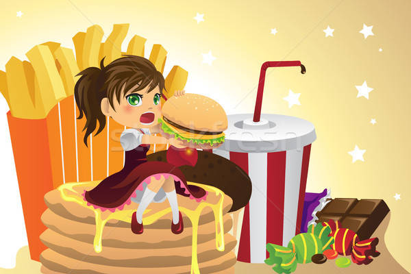 Girl eating junk food Stock photo © artisticco