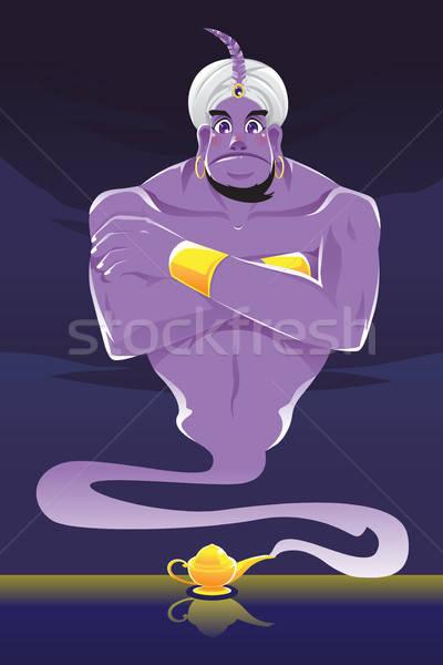 Genie heraus Lampe Mann Karikatur Magie Stock foto © artisticco