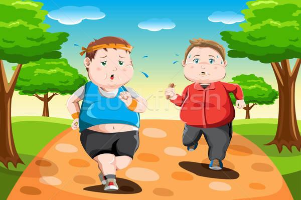 избыточный вес дети работает парка спорт молодые Сток-фото © artisticco
