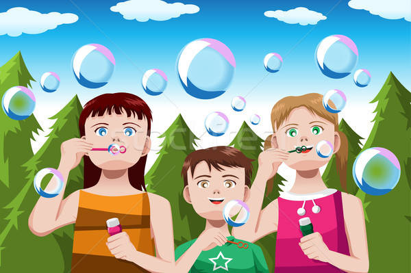 Gyerekek buborékfújás boldog park copy space gyerekek Stock fotó © artisticco