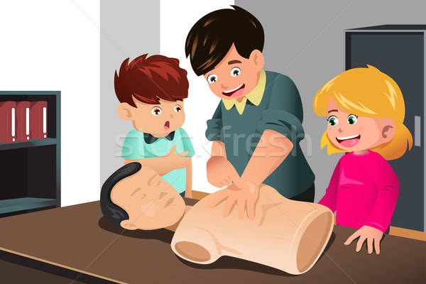 Kids practicing CPR Stock photo © artisticco