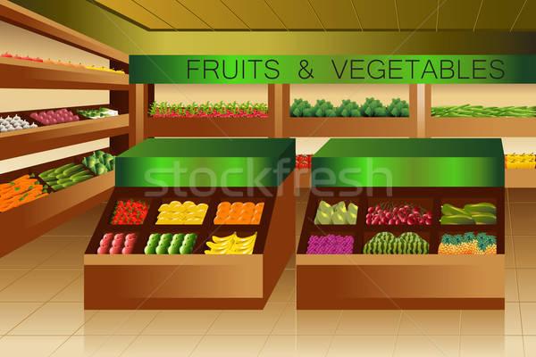 élelmiszerbolt gyümölcsök zöldségek részleg étel narancs Stock fotó © artisticco