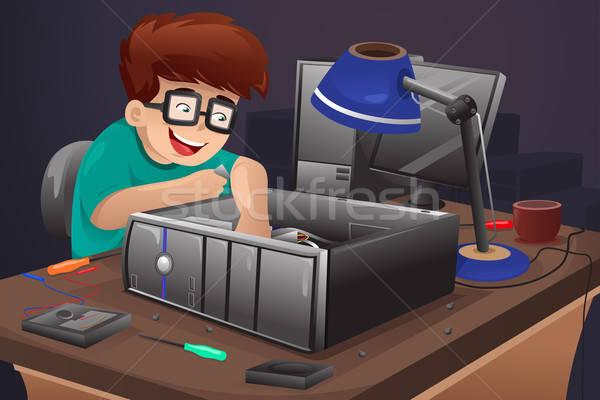 Geek компьютер человека технологий рабочих Сток-фото © artisticco