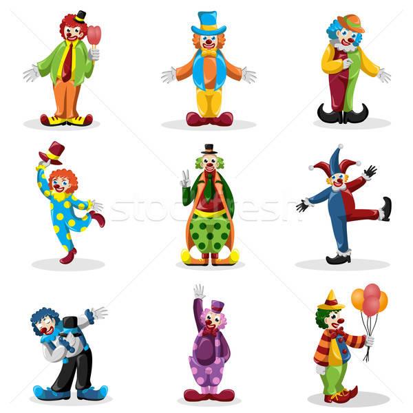 Clown iconen grappig tekening cartoon mannelijke Stockfoto © artisticco