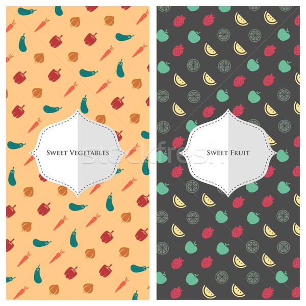 Meyve sebze duvar kağıdı dizayn arka plan çilek Stok fotoğraf © artisticco