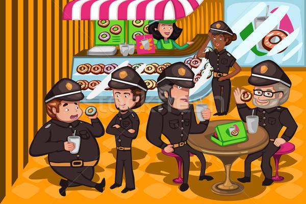Policji sklepu kobieta znajomych zespołu Zdjęcia stock © artisticco