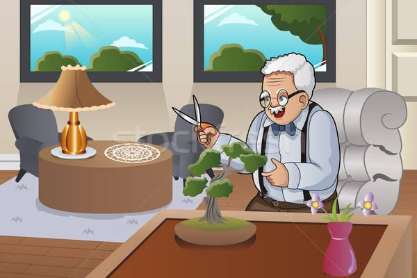 Old Man Taking Care Bonsai Stock photo © artisticco