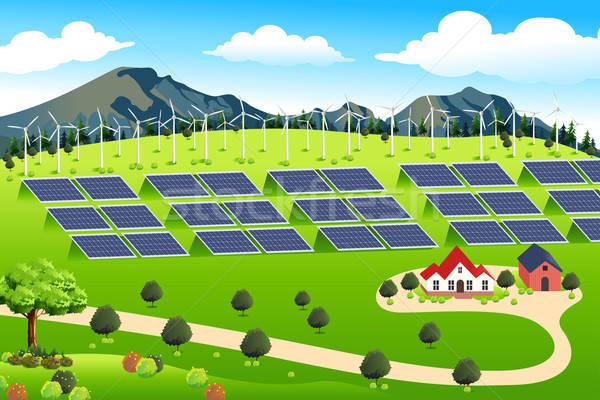 Wind Turbines and Solar Panels Farm Stock photo © artisticco
