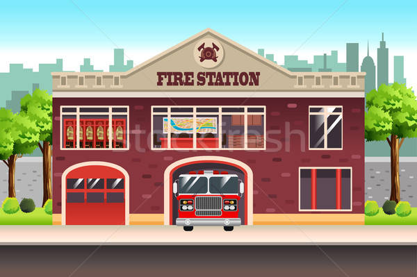 Brand station cartoon moderne eigendom Stockfoto © artisticco
