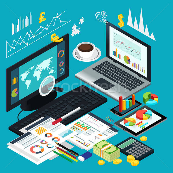 Isometric View of Business Desktop Stock photo © artisticco