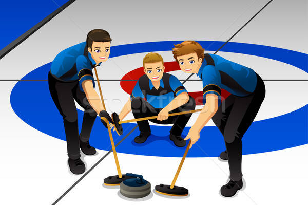 Curling Athletes Competing Illustration Stock photo © artisticco