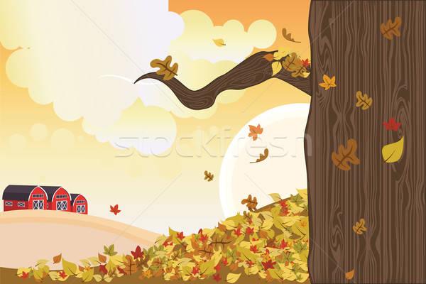 Saison d'automne relevant laisse bâtiments automne extérieur Photo stock © artisticco