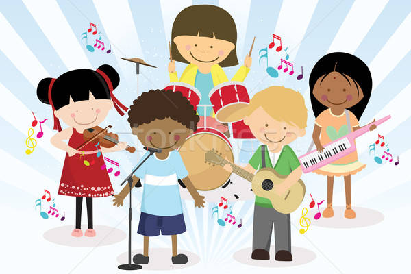 Music band of four little kids Stock photo © artisticco