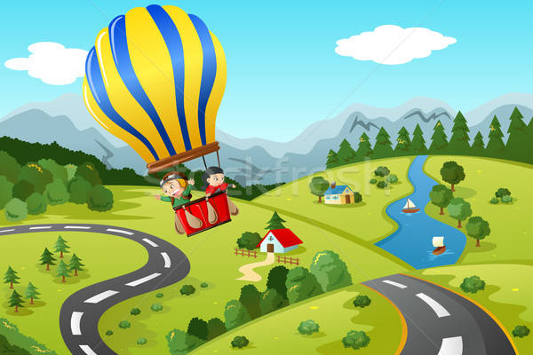 Kids riding hot air balloon Stock photo © artisticco