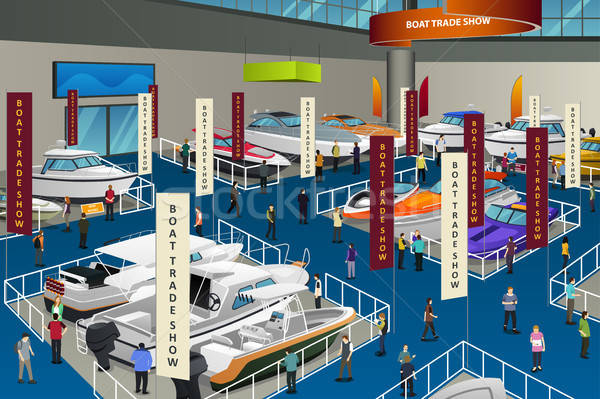 People Attending Boat Show Illustration Stock photo © artisticco