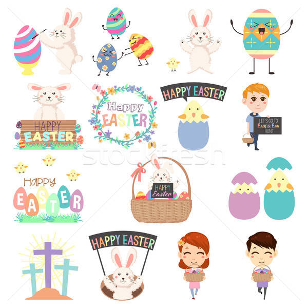 Cute Easter Clip Arts Illustration Stock photo © artisticco