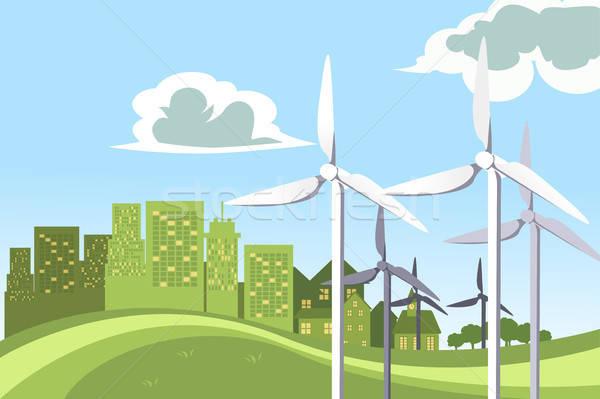 Szélturbinák erő zöld épületek ipar energia Stock fotó © artisticco