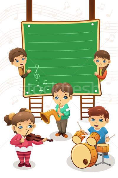 Gyerekek játszanak zene poszter konzerv használt osztály Stock fotó © artisticco