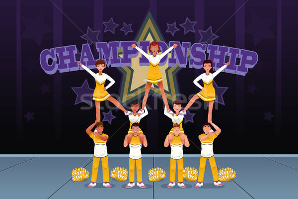 Cheerleaders in a cheerleading competition Stock photo © artisticco