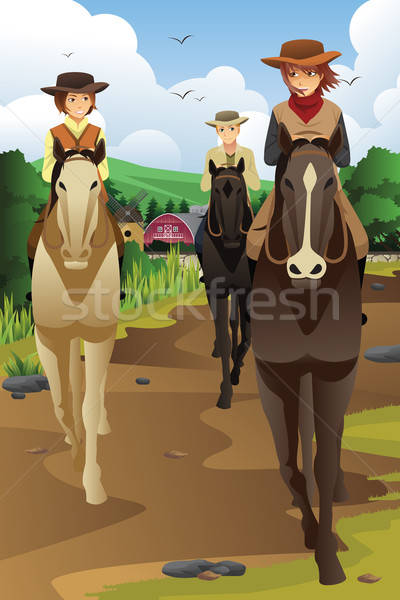Young people horseback riding in a ranch Stock photo © artisticco