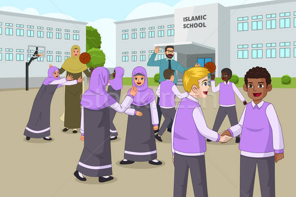 Muslim Children Playing in School Playground During Recess Stock photo © artisticco