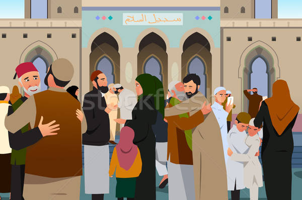 Muslims Embracing Each Other After Prayer in Mosque Illustration Stock photo © artisticco