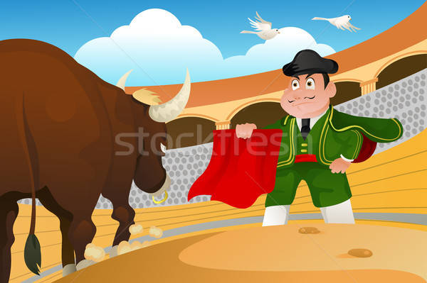 Matador and a bull Stock photo © artisticco