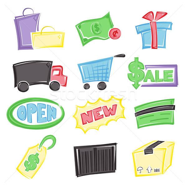 Zdjęcia stock: Zakupy · ikona · inny · ceny · polu · worek
