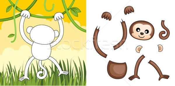 Scimmia puzzle bambini gioco cartoon outdoor Foto d'archivio © artisticco