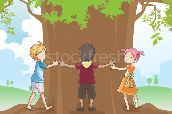 Kids hugging tree Stock photo © artisticco